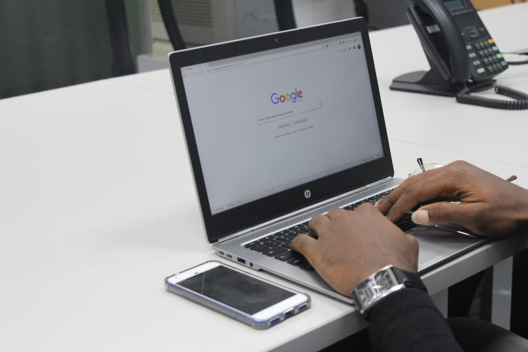 man on google home page